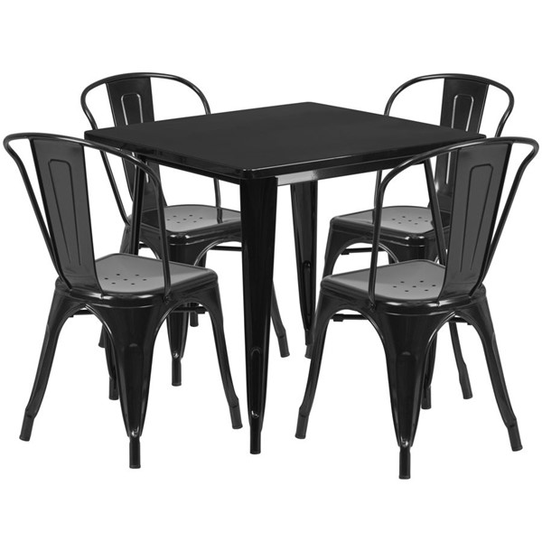 Flash Furniture Black Metal Indoor Outdoor Table Set with 4 Stack Chairs FLF-ET-CT002-4-30-BK-GG