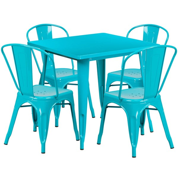 Flash Furniture Crystal Teal Blue Metal Indoor Outdoor Table Set with 4 Stack Chairs FLF-ET-CT002-4-30-CB-GG
