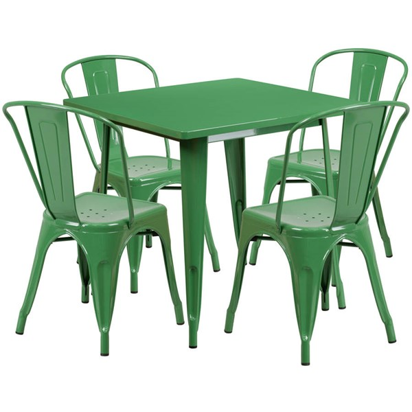Flash Furniture Green Metal Indoor Outdoor Table Set with 4 Stack Chairs FLF-ET-CT002-4-30-GN-GG