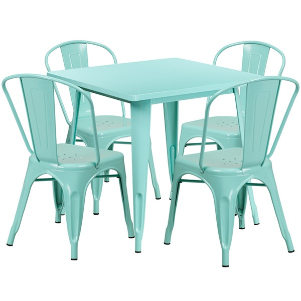 Flash Furniture Mint Green Square Metal 5pc Outdoor Dining Set FLF-ET-CT002-4-30-MINT-GG