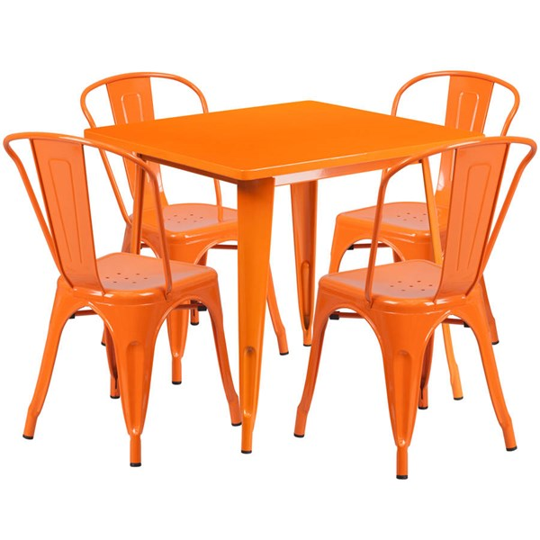 Flash Furniture Orange Metal Indoor Outdoor Table Set with 4 Stack Chairs FLF-ET-CT002-4-30-OR-GG