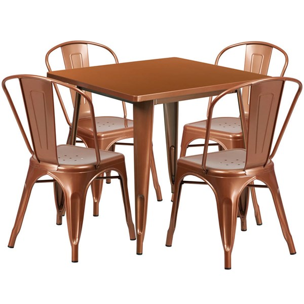 Flash Furniture Copper Metal Indoor Outdoor Table Set with 4 Stack Chairs FLF-ET-CT002-4-30-POC-GG