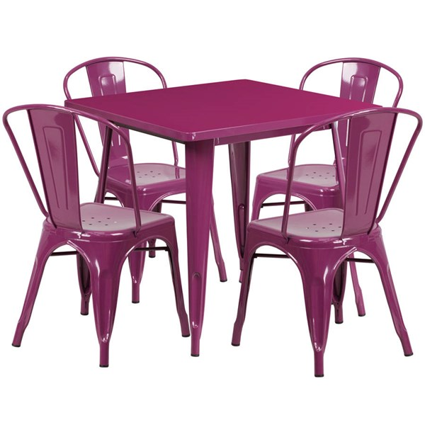 Flash Furniture Purple Metal Indoor Outdoor Table Set with 4 Stack Chairs FLF-ET-CT002-4-30-PUR-GG