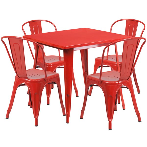 Flash Furniture Red Metal Indoor Outdoor Table Set with 4 Stack Chairs FLF-ET-CT002-4-30-RED-GG