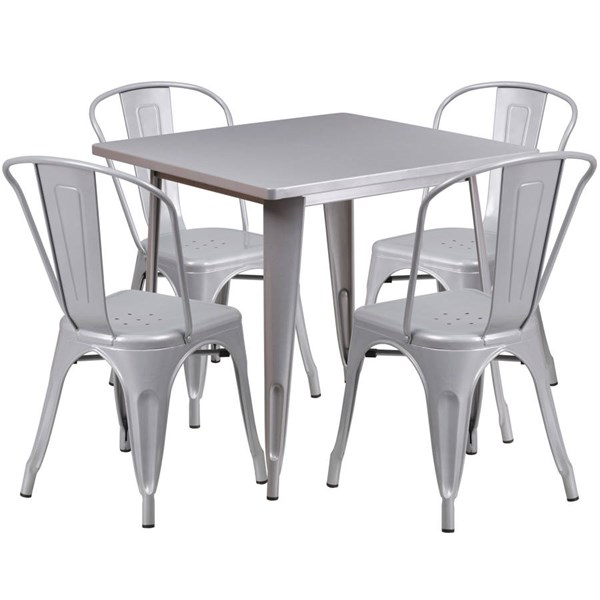 Square Top Silver Metal Indoor Outdoor Table Set with 4 Stack Chairs FLF-ET-CT002-4-30-SIL-GG