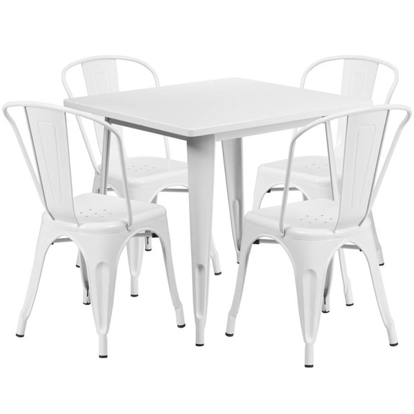 Square Top White Metal Indoor Outdoor Table Set with 4 Stack Chairs FLF-ET-CT002-4-30-WH-GG