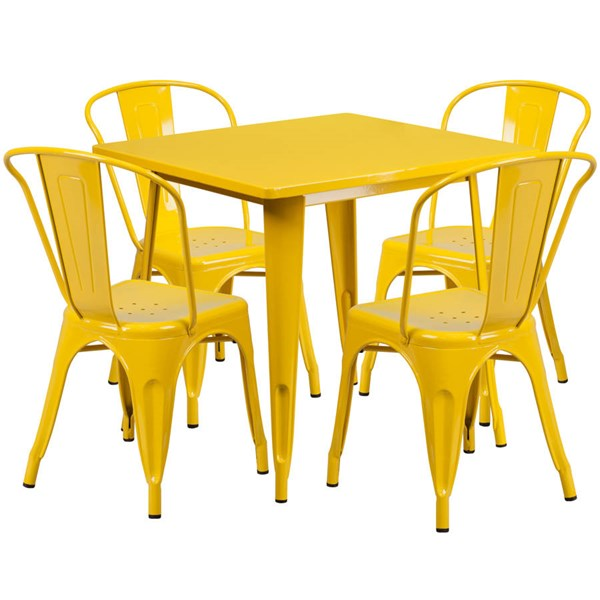 Flash Furniture Yellow Metal Indoor Outdoor Table Set with 4 Stack Chairs FLF-ET-CT002-4-30-YL-GG