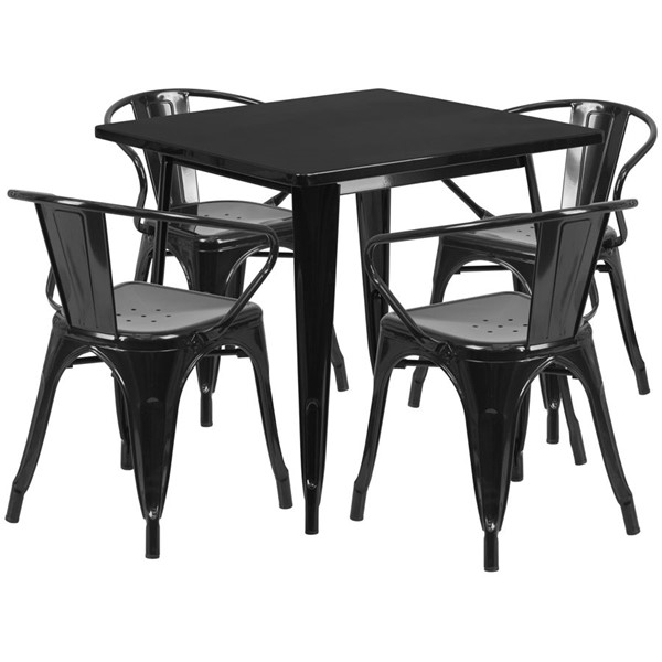 Flash Furniture Square Top Black Metal Indoor Outdoor Table Set with 4 Arm Chairs FLF-ET-CT002-4-70-BK-GG