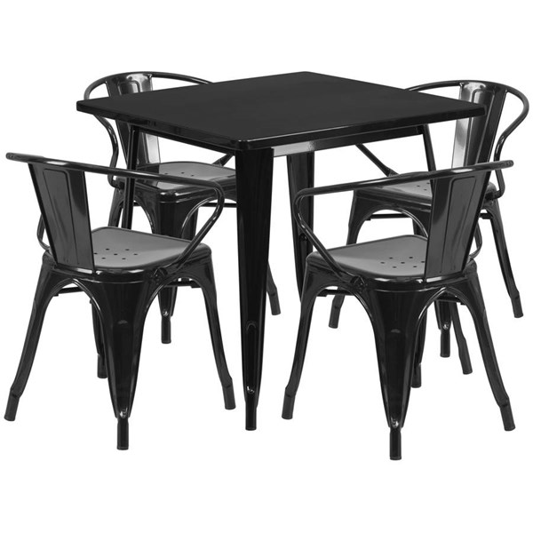 Square Top Black Metal Indoor Outdoor Table Set with 4 Arm Chairs FLF-ET-CT002-4-70-BK-GG