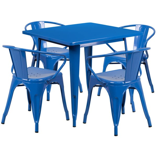Flash Furniture Square Top Blue Metal Indoor Outdoor Table Set with 4 Arm Chairs FLF-ET-CT002-4-70-BL-GG
