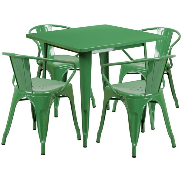 Flash Furniture Square Top Green Metal Indoor Outdoor Table Set with 4 Arm Chairs FLF-ET-CT002-4-70-GN-GG