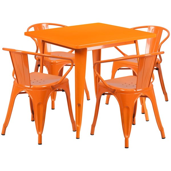 Flash Furniture Square Top Orange Metal Indoor Outdoor Table Set with 4 Arm Chairs FLF-ET-CT002-4-70-OR-GG