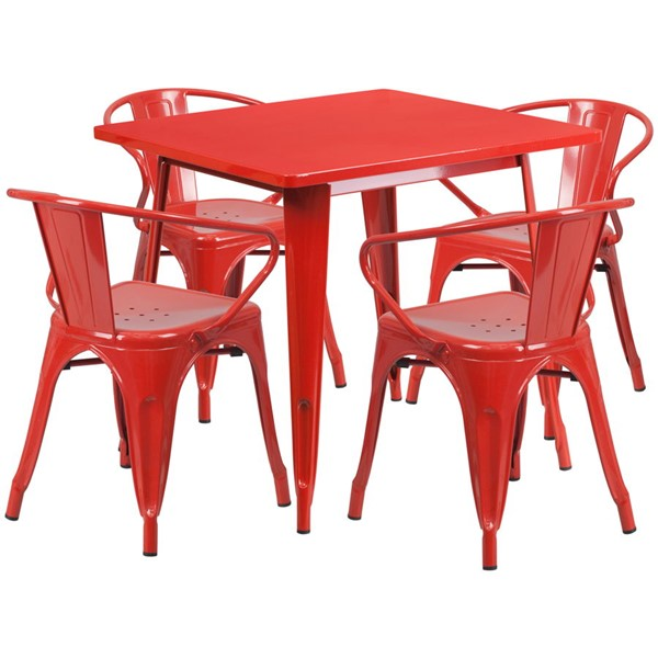 Flash Furniture Square Top Red Metal Indoor Outdoor Table Set with 4 Arm Chairs FLF-ET-CT002-4-70-RED-GG