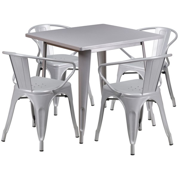 Flash Furniture Square Top Silver Metal Indoor Outdoor Table Set with 4 Arm Chairs FLF-ET-CT002-4-70-SIL-GG
