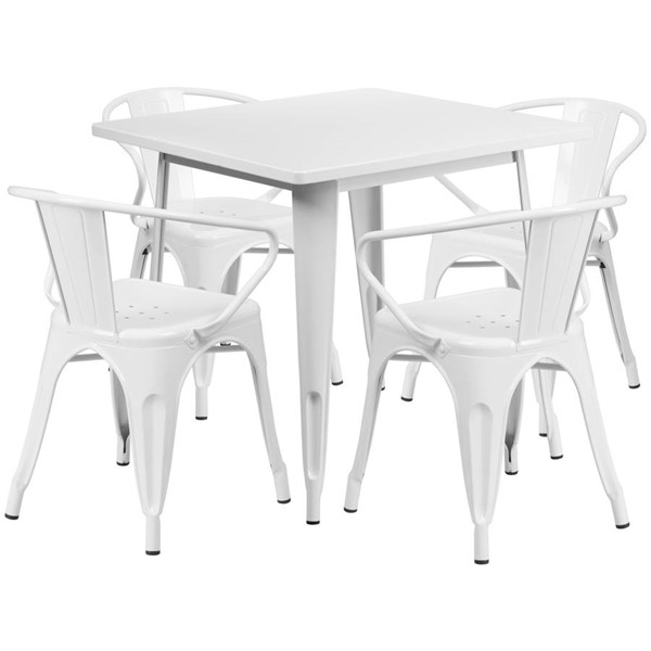 Flash Furniture Square Top White Metal Indoor Outdoor Table Set with 4 Arm Chairs FLF-ET-CT002-4-70-WH-GG