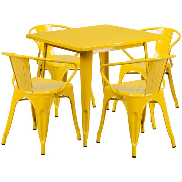 Flash Furniture Square Top Yellow Metal Indoor Outdoor Table Set with 4 Arm Chairs FLF-ET-CT002-4-70-YL-GG