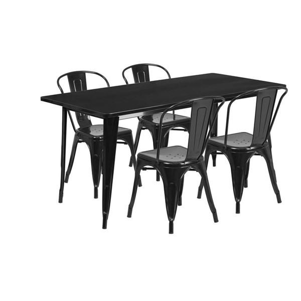 Flash Furniture Rectangular Black Metal Indoor Outdoor Table Set with 4 Stack Chairs FLF-ET-CT005-4-30-BK-GG