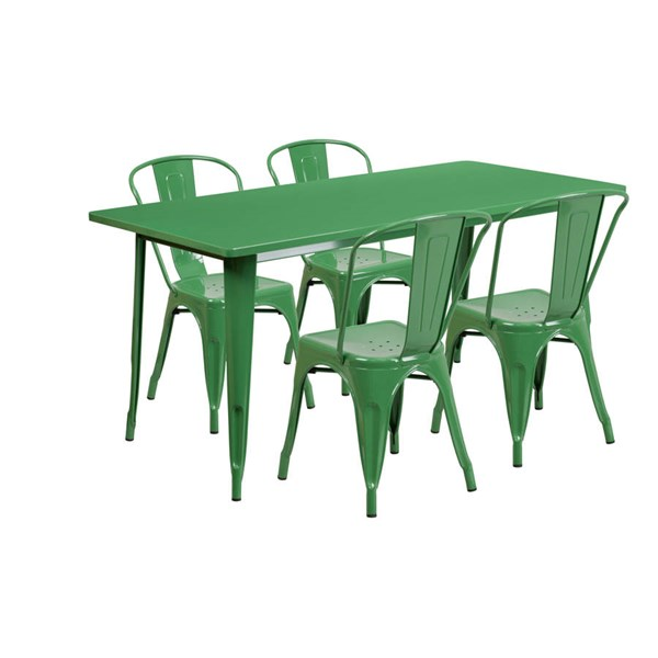 Flash Furniture Rectangular Green Metal Indoor Outdoor Table Set with 4 Stack Chairs FLF-ET-CT005-4-30-GN-GG