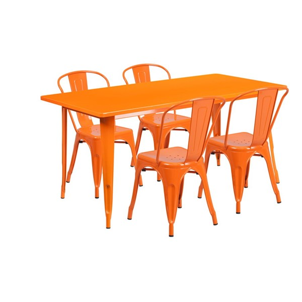 Flash Furniture Rectangular Orange Metal Indoor Outdoor Table Set with 4 Stack Chairs FLF-ET-CT005-4-30-OR-GG