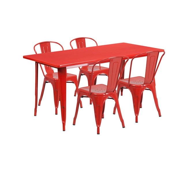 Rectangular Red Metal Indoor Outdoor Table Set with 4 Stack Chairs FLF-ET-CT005-4-30-RED-GG