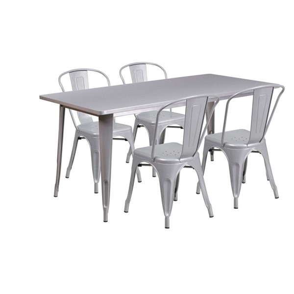 Flash Furniture Silver Metal Table Set FLF-ET-CT005-4-30-SIL-GG