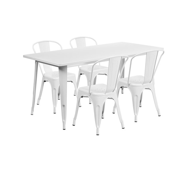 Flash Furniture Rectangular White Metal Indoor Outdoor Table Set with 4 Stack Chairs FLF-ET-CT005-4-30-WH-GG