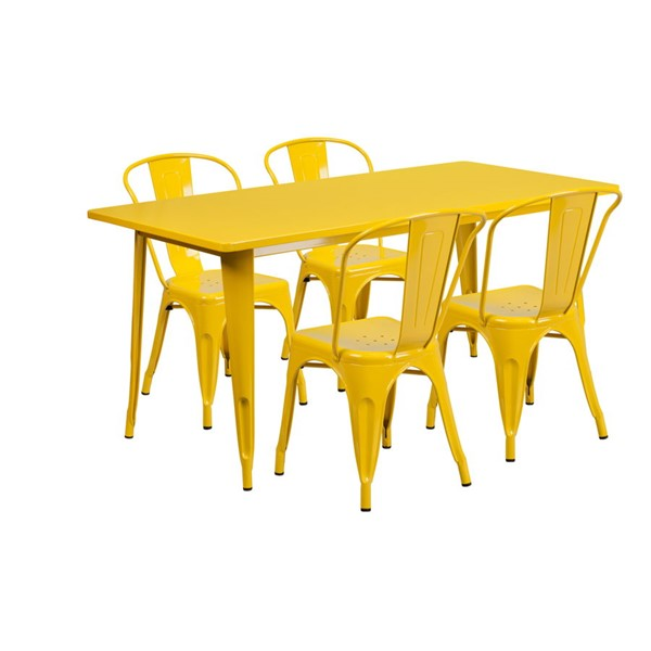 Flash Furniture Rectangular Yellow Metal Indoor Outdoor Table Set with 4 Stack Chairs FLF-ET-CT005-4-30-YL-GG