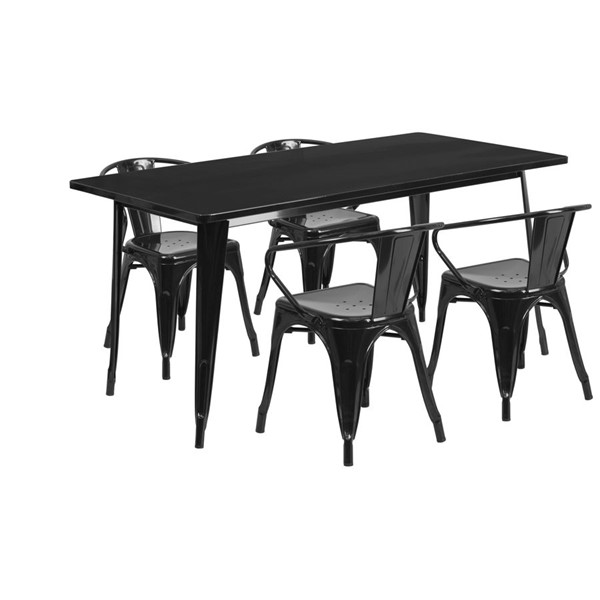 Flash Furniture Rectangular Black Metal Indoor Outdoor Table Set with 4 Arm Chairs FLF-ET-CT005-4-70-BK-GG