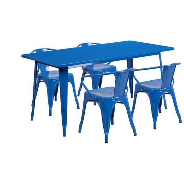 Rectangular Blue Metal Indoor Outdoor Table Set with 4 Arm Chairs FLF-ET-CT005-4-70-BL-GG