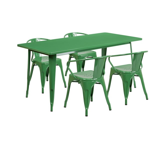 Flash Furniture Rectangular Green Metal Indoor Outdoor Table Set with 4 Arm Chairs FLF-ET-CT005-4-70-GN-GG