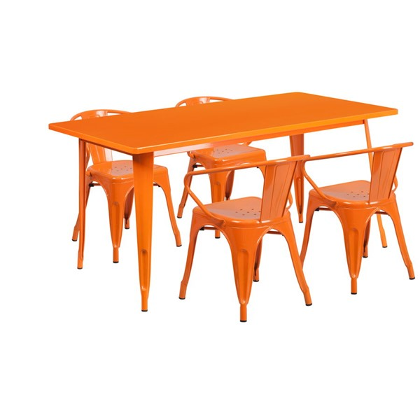 Flash Furniture Rectangular Orange Metal Indoor Outdoor Table Set with 4 Arm Chairs FLF-ET-CT005-4-70-OR-GG