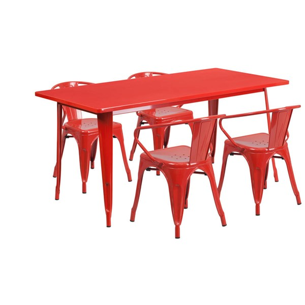 Rectangular Red Metal Indoor Outdoor Table Set with 4 Arm Chairs FLF-ET-CT005-4-70-RED-GG