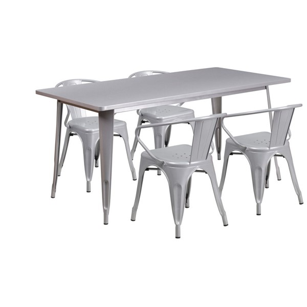 Flash Furniture Silver Metal Rubber Table Set FLF-ET-CT005-4-70-SIL-GG