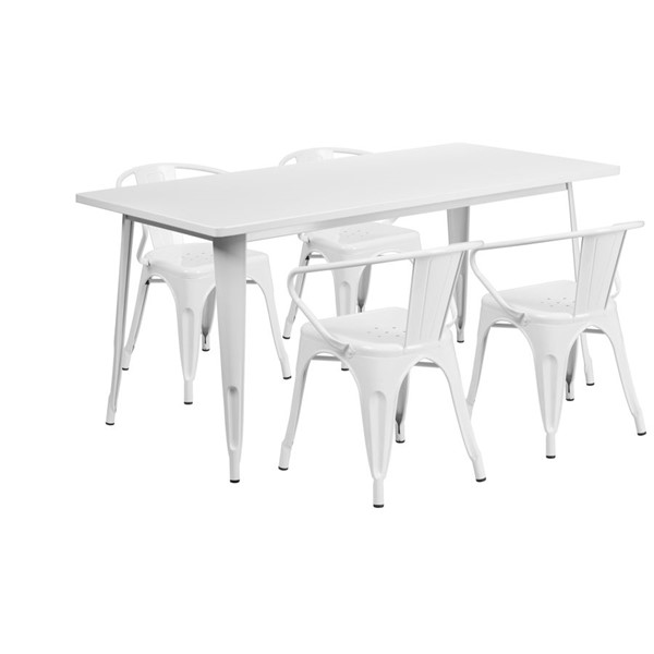 Flash Furniture Rectangular White Metal Indoor Outdoor Table Set with 4 Arm Chairs FLF-ET-CT005-4-70-WH-GG