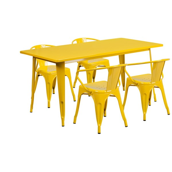 Flash Furniture Rectangular Yellow Metal Indoor Outdoor Table Set with 4 Arm Chairs FLF-ET-CT005-4-70-YL-GG