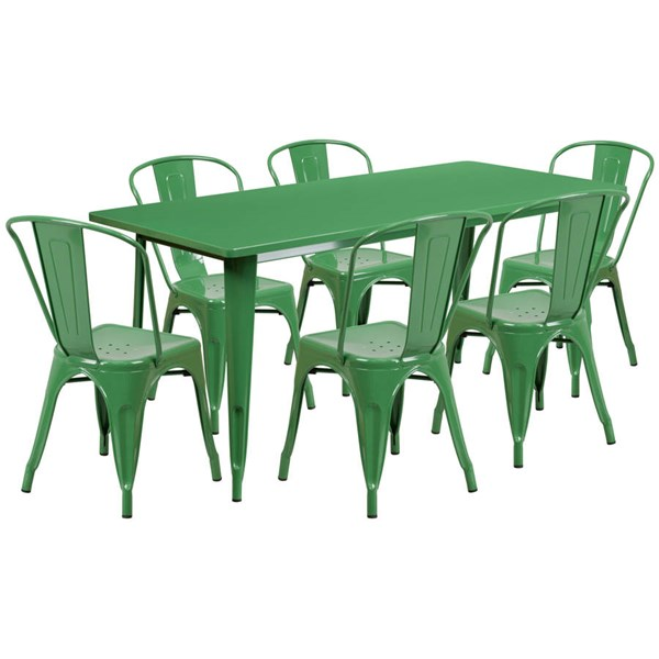 Flash Furniture Rectangular Green Metal Indoor Outdoor Table Set with 6 Stack Chairs FLF-ET-CT005-6-30-GN-GG