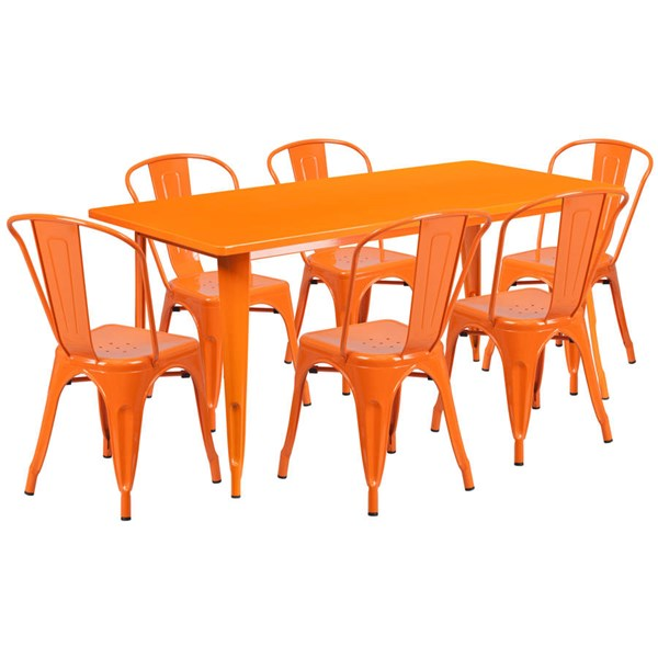 Rectangular Orange Metal Indoor Outdoor Table Set with 6 Stack Chairs FLF-ET-CT005-6-30-OR-GG