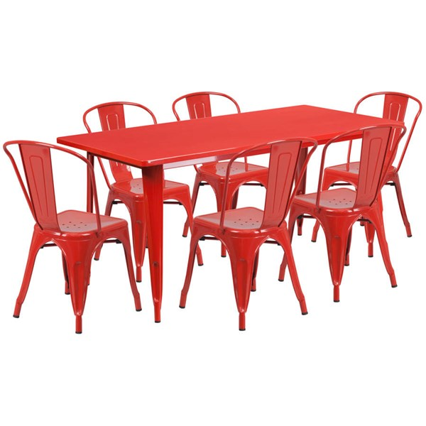 Flash Furniture Rectangular Red Metal Indoor Outdoor Table Set with 6 Stack Chairs FLF-ET-CT005-6-30-RED-GG