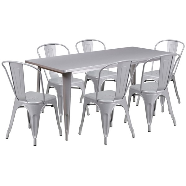 Flash Furniture Silver Metal 7pc Outdoor Dining Sets FLF-ET-CT005-6-30-SIL-GG