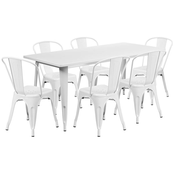 Flash Furniture Rectangular White Metal Indoor Outdoor Table Set with 6 Stack Chairs FLF-ET-CT005-6-30-WH-GG