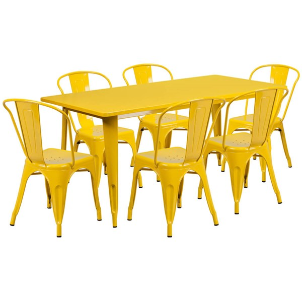 Rectangular Yellow Metal Indoor Outdoor Table Set with 6 Stack Chairs FLF-ET-CT005-6-30-YL-GG
