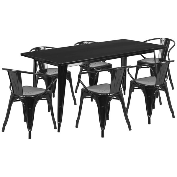 Flash Furniture Rectangular Black Metal Indoor Outdoor Table Set with 6 Arm Chairs FLF-ET-CT005-6-70-BK-GG