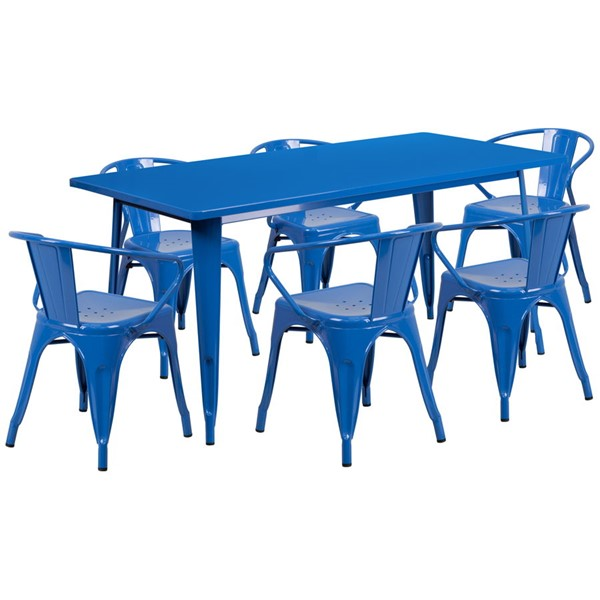 Flash Furniture Rectangular Blue Metal Indoor Outdoor Table Set with 6 Arm Chairs FLF-ET-CT005-6-70-BL-GG