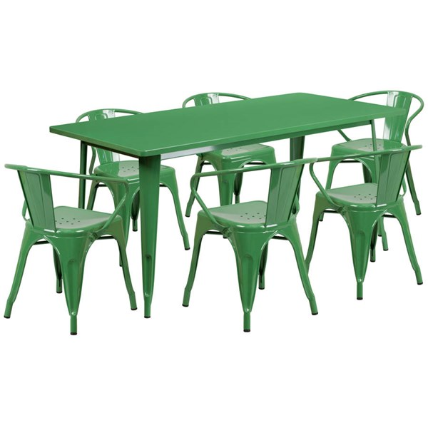 Flash Furniture Rectangular Green Metal Indoor Outdoor Table Set with 6 Arm Chairs FLF-ET-CT005-6-70-GN-GG