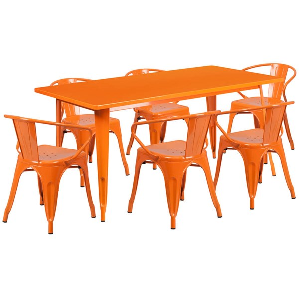 Flash Furniture Rectangular Orange Metal Indoor Outdoor Table Set with 6 Arm Chairs FLF-ET-CT005-6-70-OR-GG