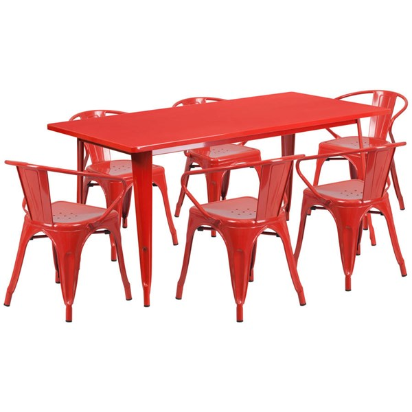 Flash Furniture Rectangular Red Metal Indoor Outdoor Table Set with 6 Arm Chairs FLF-ET-CT005-6-70-RED-GG