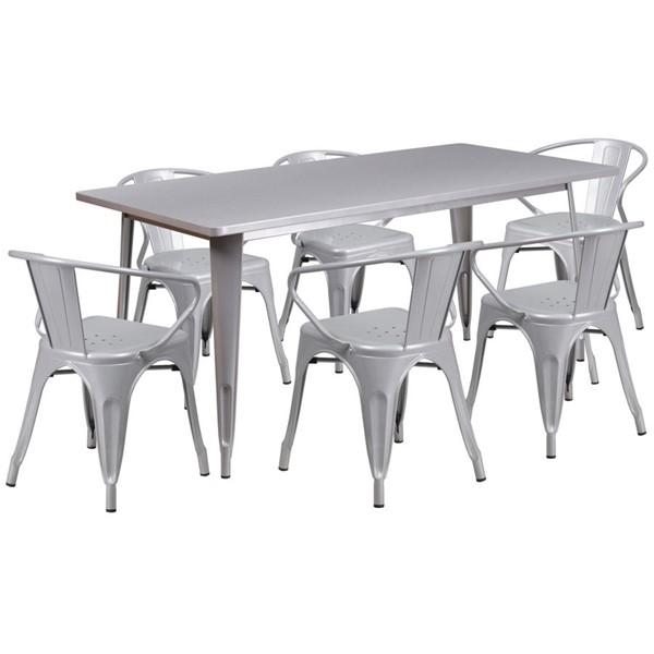Flash Furniture Contemporary Silver Metal Table Set FLF-ET-CT005-6-70-SIL-GG