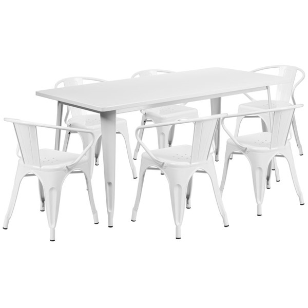 Flash Furniture Rectangular White Metal Indoor Outdoor Table Set with 6 Arm Chairs FLF-ET-CT005-6-70-WH-GG