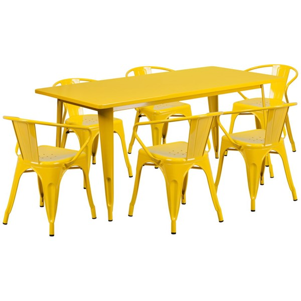 Flash Furniture Rectangular Yellow Metal Indoor Outdoor Table Set with 6 Arm Chairs FLF-ET-CT005-6-70-YL-GG