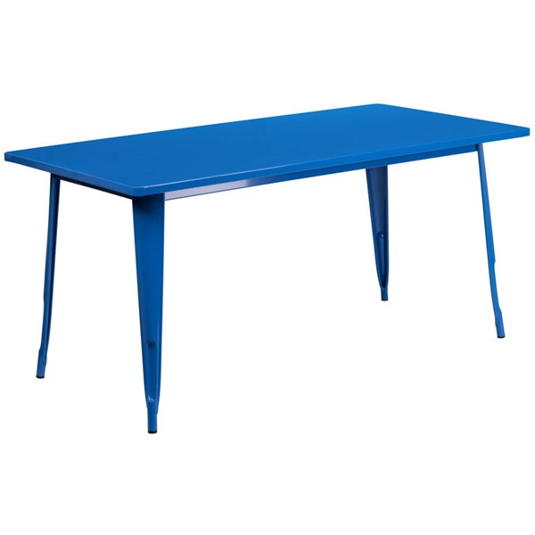 Flash Furniture Blue Metal Rectangular Indoor Outdoor Table FLF-ET-CT005-BL-GG